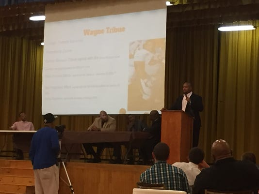 """Wayne Tribue talks during the """"Night of Extraordinary Men"""" event on Friday at Crispus Attucks in York. Ex-NFL players and community leaders participated in the event. The idea was to offer personal stories of success, tragedy and hardships to impart knowledge on the youths so they can reach their fullest potential."""