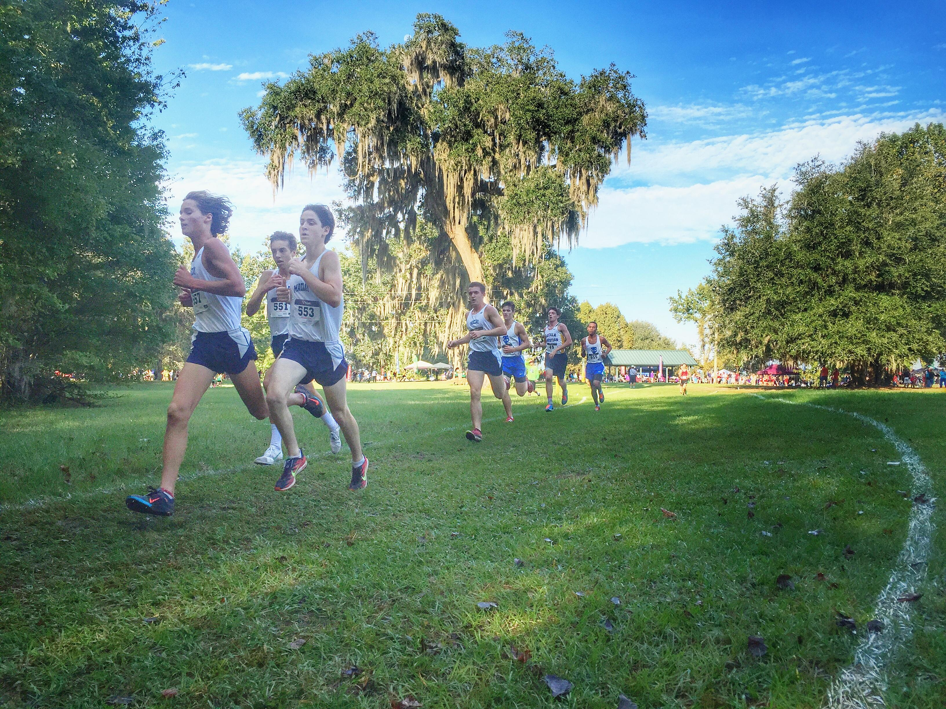 Maclay's top four prepare for the final mile during Saturday's Region 1-1A meet in Lake City. The Marauders won a regional title, setting up their run towards a state title next week.