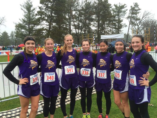 The Kewaunee girls cross-country team at the WIAA state meet in Wisconsin Rapids on Oct. 31. Team members pictured from left to right: Breanna Vandenplas, Gabriella Czech, Hannah Lamack, Lexi Rentmeester, Brianne Barta, Amanda Vandenplas and Kenna Rentmeester.