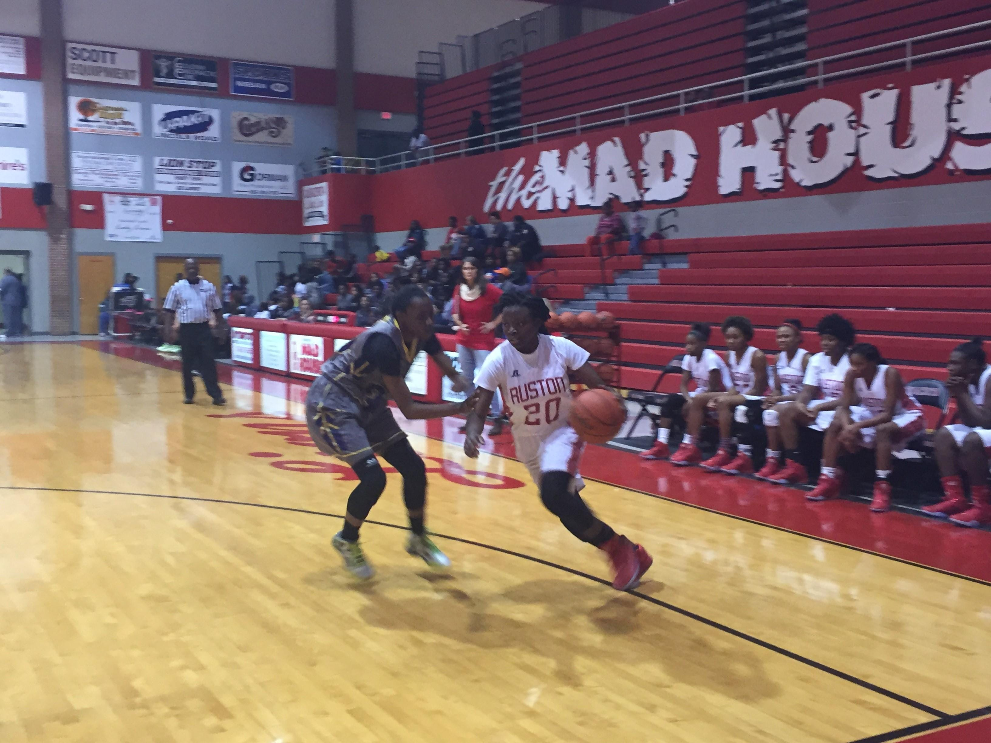 Amani McWain drives to the basket in Ruston's win over Byrd.
