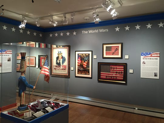"The ""Seeing Stars: Every Flag Tells a Story"" exhibit at Twin Lights Museum."