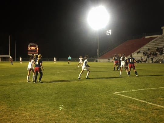 Florida High's Keylee Castro takes a free kick in the 12th minute. She scored on the shot, posting the game-winning goal for the Seminoles in a 1-0 win over Wakulla for the district title.