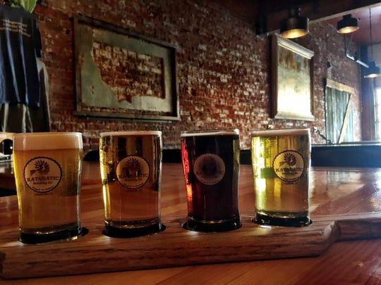 A flight of beer at Katabatic Brewing in Livingston.
