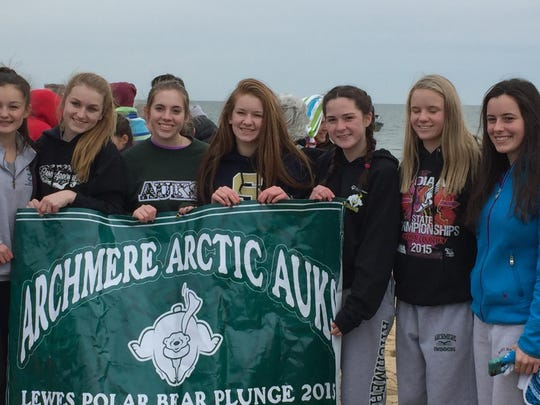 Archmere Academy students who took the Polar Bear Plunge are, from left, Dara Dawson '18, Anna Stover '18, Caroline McColgan '18, Brenna Bellew '18, Hannah Nash '18, Katie Griffith '18 and Kylie Lavelle '16.