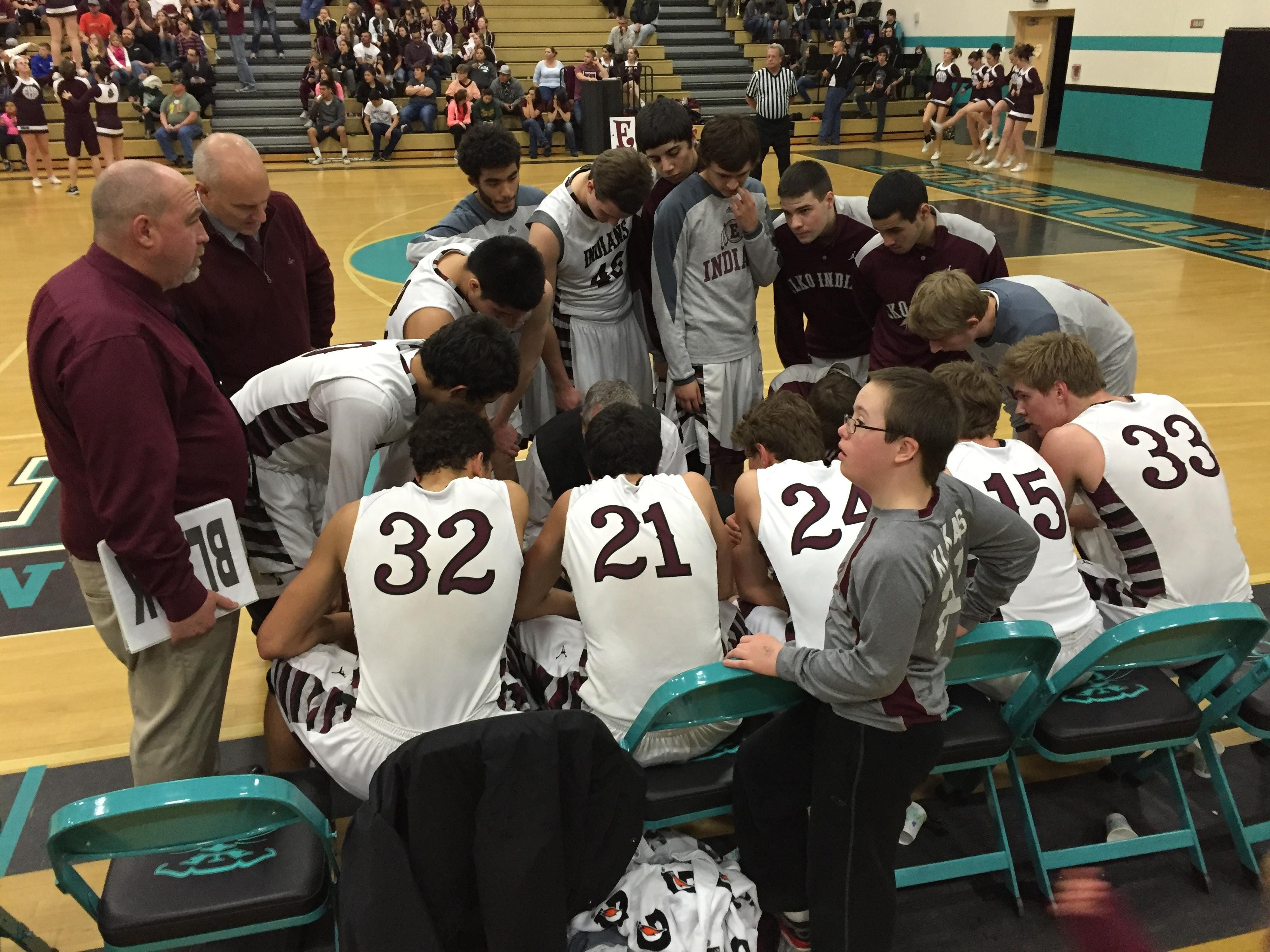 Elko players and coaches discuss their next move during a time-out in Friday's game.