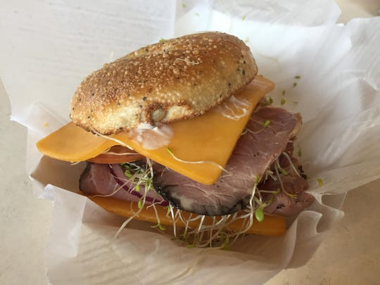 A three-seed bagel provides the framework for the Mount Rose, a roast beef sandwich.