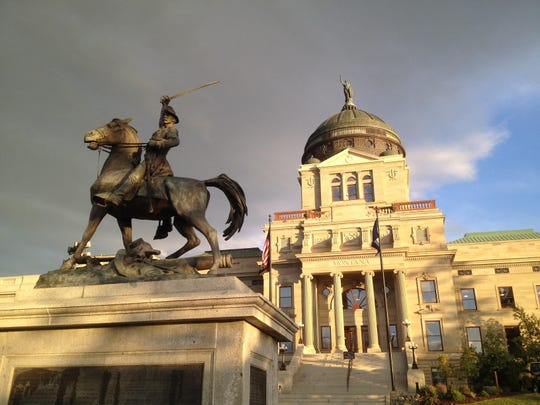 A statue of Civil War Union Gen. Thomas Francis Meagher stands on the north lawn of the Montana Capitol building.