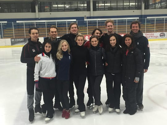 From left, Cortney Mansour and Michal Ceska, Czech Republic; Penny Coomes and Nick Buckland, United Kingdom; Isabella Tobias and Ilya Tkachenko, Israel; Kevita Lorenz and Joti Polizoakis, Germany; Madison Chock and Evan Bates, USA; and coaches Adrienne Lenda and Igor Shpilband.