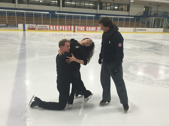 Igor Shpilband coaches Madison Chock and Evan Bates at the Novi Ice Arena. The ice dancers were second at worlds last year and will compete again at the World Figure Skating Championships this week in Boston.