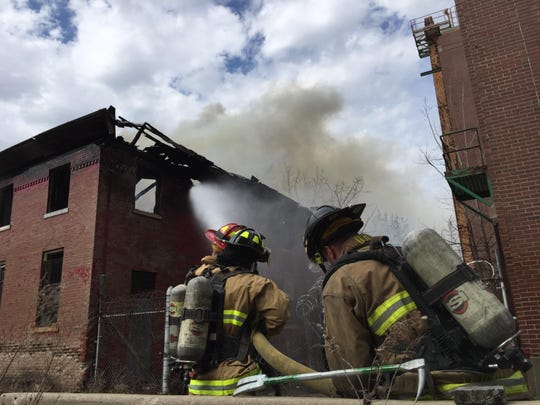 Wayne-Westland firefighters battling a fire in a vacant building at the former Eloise building.