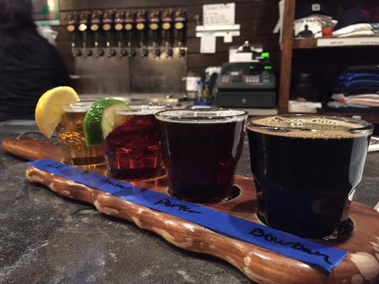 A flight of beer is served up at the Beaver Creek Brewery in Wibaux.