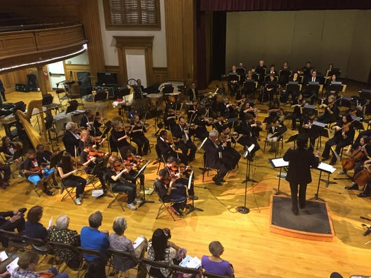 "ROCmusic and the RPO play in the Edgerton R-Center, during the June 5th ""Around the Town"" concert of 2015, lead by Peña."