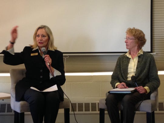 Left, Mary Adams and Jane Parker, are running for county supervisor seats this year. They shared their perspectives on women in politics at a Wednesday class at CSUMB.