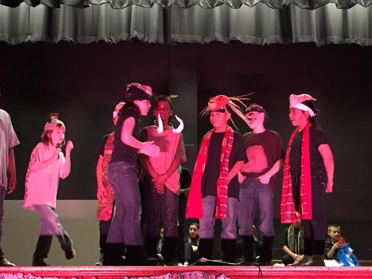 """The Madison Elementary School Drama Club presented its musical, """"Lion King Kids"""" April 14 at Harding Middle School. Teachers Nels Dovre, Kathleen Davenport, Robin Fulton, Carolyn Taylor and Carla Wolfe aided in the production."""