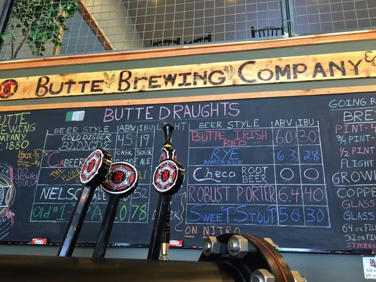 Beers on offer at the Butte Brewing Co. are sorted light to dark.