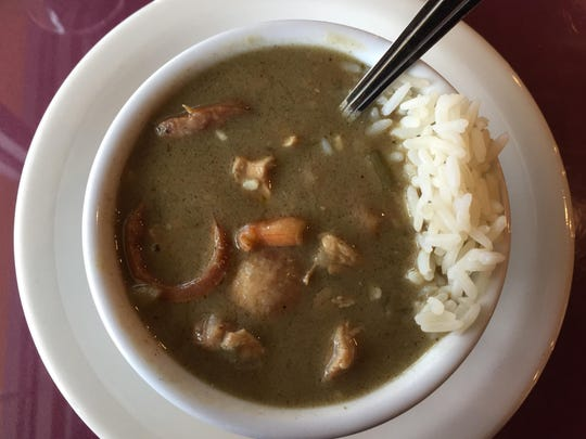 Dirty gumbo, thickened with filé powder, incorporates pork, chicken, shrimp and rice.