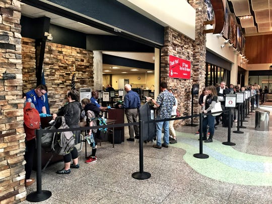 A long line waits to get through security earlier this year at Great Falls International Airport.