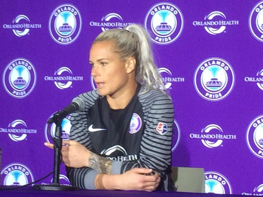 Orlando goalkeeper Ashlyn Harris talks to the media after the Pride's 2-0 win over Seattle.