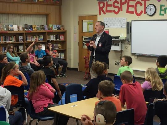 Mike Rohrkaste made a visit to Taft Elementary School in Neenah last month.