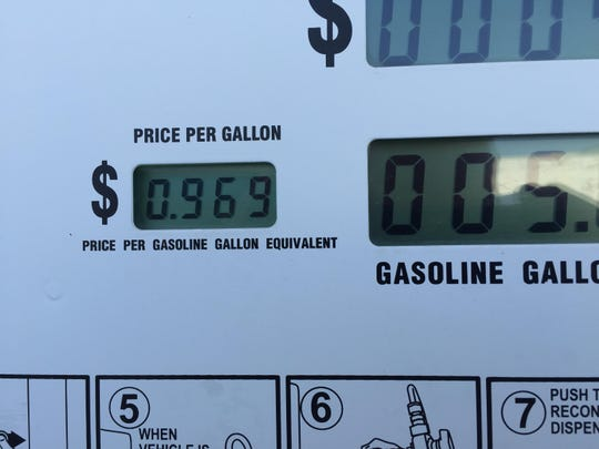 CNG price is less than $1 per gallon at this pump in Fort Smith, Ark.