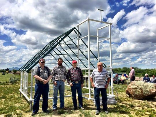 Rodney Svenson, Josh Herman, Joe Lincoln and Richard Jackson built this 1/3 scale model of the former Grace Evangelical Church north of Rudyard.