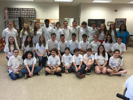 Members of the Eisenhower Middle School Encores Group who performed at the senior center in the township.