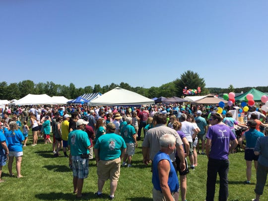 Participants gather Saturday for the 14th annual LACiNg Up for Cancer Walk in Morrisville.