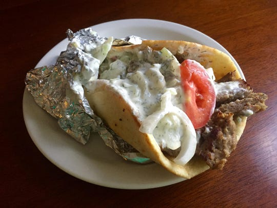 Niko's Greek Kitchen in West Street Market offers four styles of gyro, including this basic lamb and beef version.