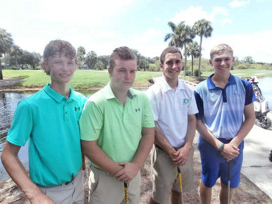The foursome of James Tureskis, 14, left, of Naples; Mason Kiernan, 16, of Cape Coral; Michael Chesnover, 18, of Fort Myers, and Chad Tracy, 15, of Naples, enjoy competing in the Southwest Florida Junior Golf Association tournament.