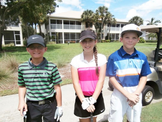Dalton Payne, 11, left, of Estero, Talia Rodino, 12, of Fort Myers, and Ryan Kriz, 11, of Bonita Springs enjoy competing in the Southwest Florida Junior Golf Association tournament at the Estero Country Club at The Vines.