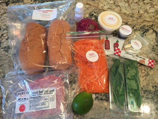 This is how the ingredients for Plated's Lamb Banh Mi Sandwiches are packaged.