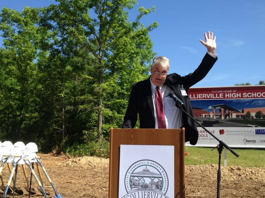 Collierville schools superintendent John S. Aitken waves during the groundbreaking for the school system's new high school on Friday, May 13, 2016. (Daniel Connolly/The Commercial Appeal)