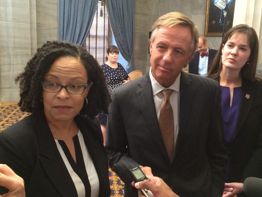 Nov. 3, 2015 - Malika Anderson (left) new superintendent of the state's Achievement School District, answers questions at a State Capitol news conference with Gov. Bill Haslam and state Education Commissioner Candice McQueen.