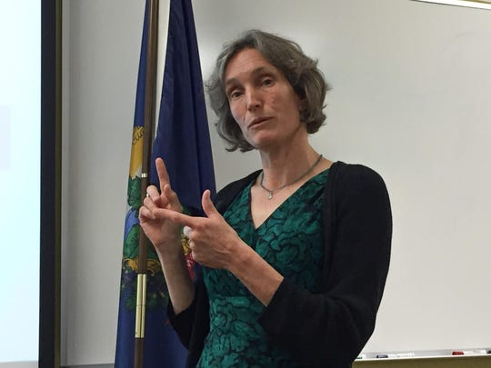 Vermont Education Secretary Rebecca Holcombe explains Smarter Balanced Assessment scores at a news conference in Barre on Aug. 24.