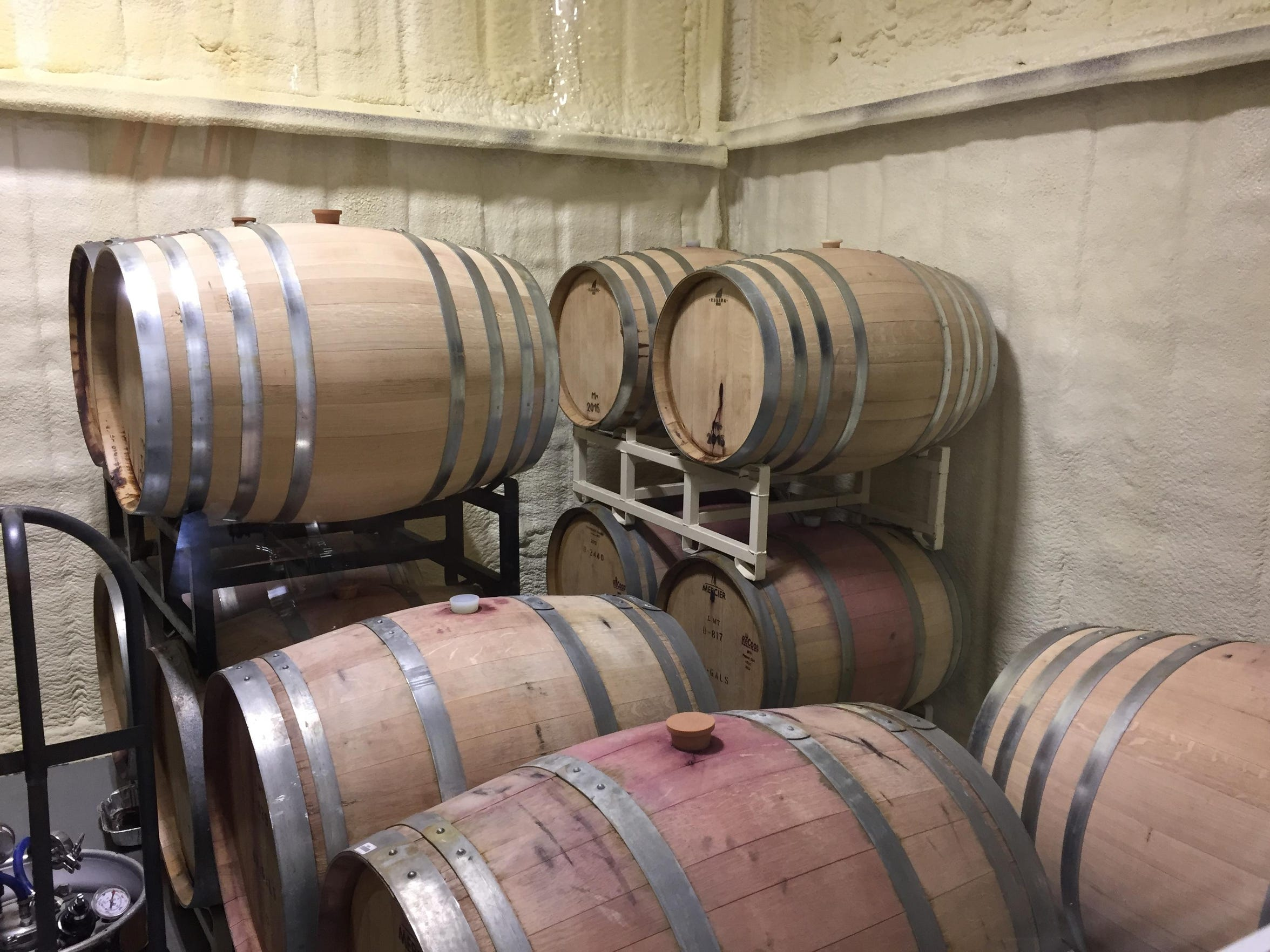 Casks of Madiera rest in a special, heated room. The