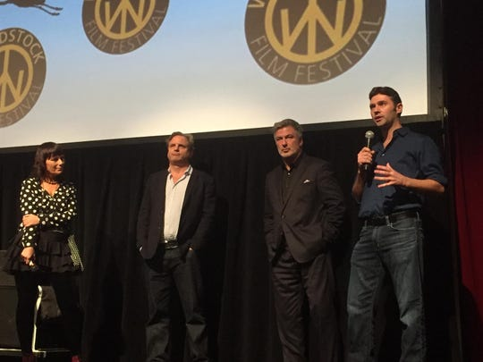 From left: Woodstock Film Festival Executive Director Meira Blaustein, director Michael Mailer, Alec Baldwin and writer John Buffalo Mailer at the Woodstock Film Festival in 2016.