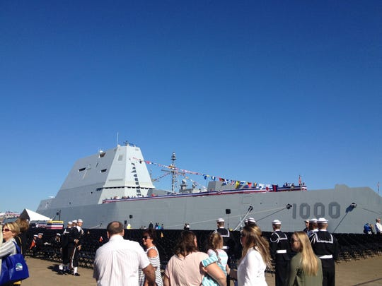 The USS Zumwalt before it was commissioned in Baltimore over the weekend.