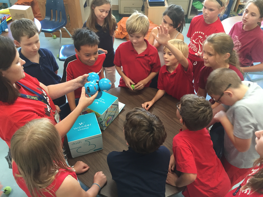 Mrs. Zeinert introduced robots to her fourth- and fifth-grade classes at St. Margaret Mary Elementary School. They will be used in the computer lab during class time.