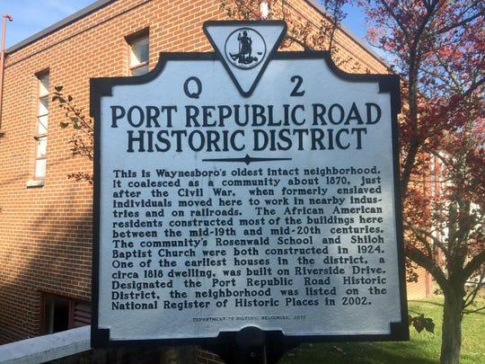 Port Republic Road Historic District sign.
