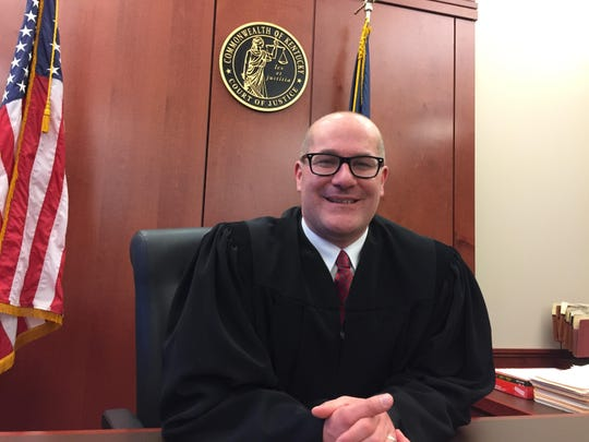 Judge Cameron Blau gets to work in the Newport courthouse two days after being elected as a Campbell County District Court judge.
