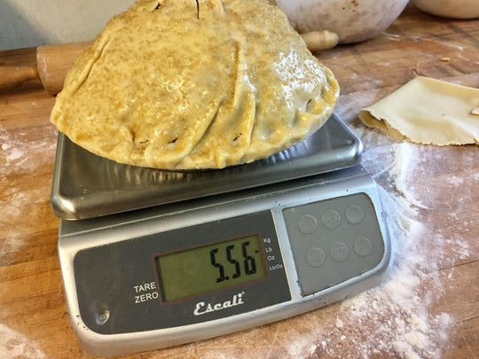 What a monster! A Braeburn apple pie at Homage Bakery weighs nearly 5.6 pounds before baking.
