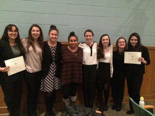 Padua's Model United Nations team attended Salesianum's 30th Delaware Model United Nations Conference: from left, Maya Shenoy, Julia Zurzolo Lilly Spych, Gillian Isabel, Julia Mauk, Chloe Stallard, Adair Bartam and Maria DiStefano.