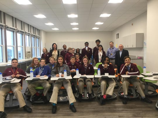 St. Elizabeth's freshman computer science class heard from Lisa Grott ('90) and a few of her colleagues from JP Morgan Chase.