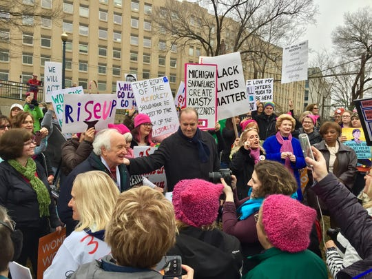 In Hancock Park, Democrats from the Michigan congressional delegation spoke to the crowd from Michigan in town for the Women's March on Washington. From left are Reps. Sandy Levin, Dan Kildee and Debbie Dingell, Sen. Debbie Stabenow and Rep. Brenda Lawrence.