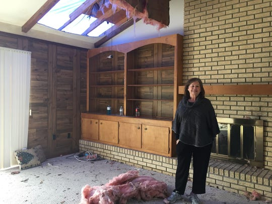 Elaine Mathis stands in a room of her Petal home that was severely damaged during the Jan. 21. tornado.