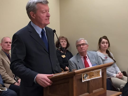 Former U.S. Sen. Max Baucus speaks Monday to members