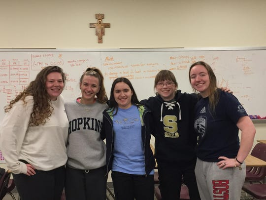 Ten Padua students competed in the Moody's Mega Math (M3) Challenge including seniors, from left, Jessica Bridge, Jessica Manley, Caitlin O'Brien, Kalani PIcho and Kelly Ward.