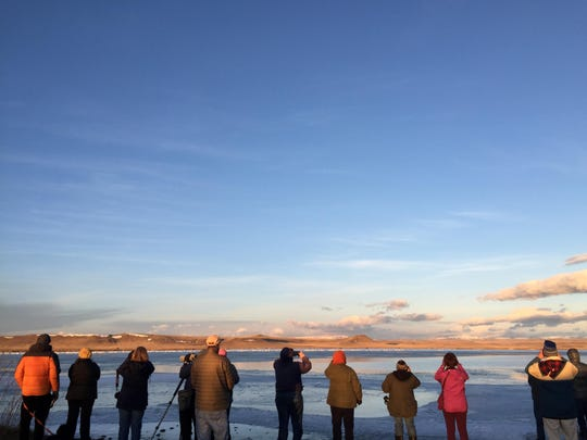 Members of the Upper Missouri River Breaks Audubon gather at the frozen edge of Freezout Lake to Observe the different species of migrating waterfowl in 2017.