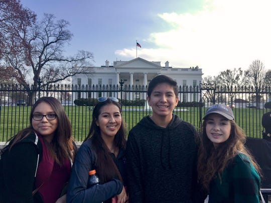 DaleAnn Cobell, Mariah Omeasoo, Brendon Galbreath and Hailie Henderson from Browning High School visit the White House.