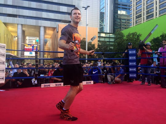 Australian boxer Jeff Horn trains in front of the public in a mall in Brisbane, Australia, Thursday, June 29, 2017. Horn is preparing for his WBO welterweight world title bout against Filipino Manny Pacquiao on Sunday, July 2. (AP Photo/John Pye)